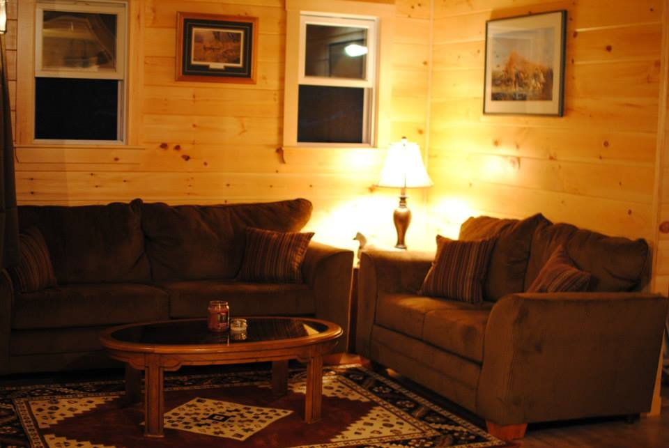 """Cozy sitting room in """"Guide Camp"""", complete with cable TV and internet access."""