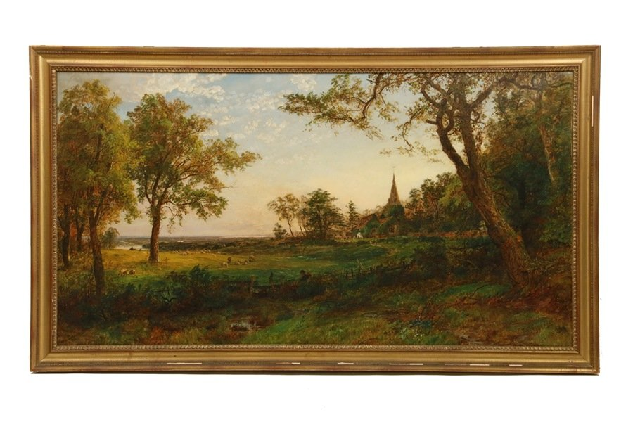 """Jasper Cropsey's (NY, 1823-1900) painting """"Gray's Elegy at Stoke Poges"""", one of 1,665 lots to be sold at Thomaston Place Auction Galleries on February 16, 17 & 18"""
