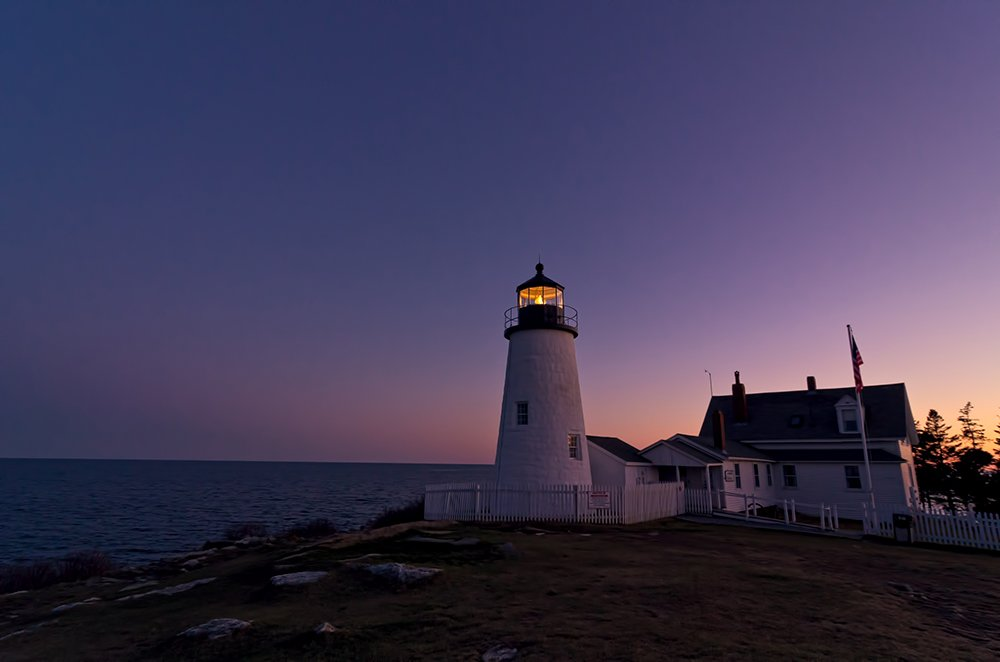Pemaquid Point Light at dusk