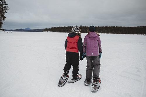Snowshoeing on Sebec Lake
