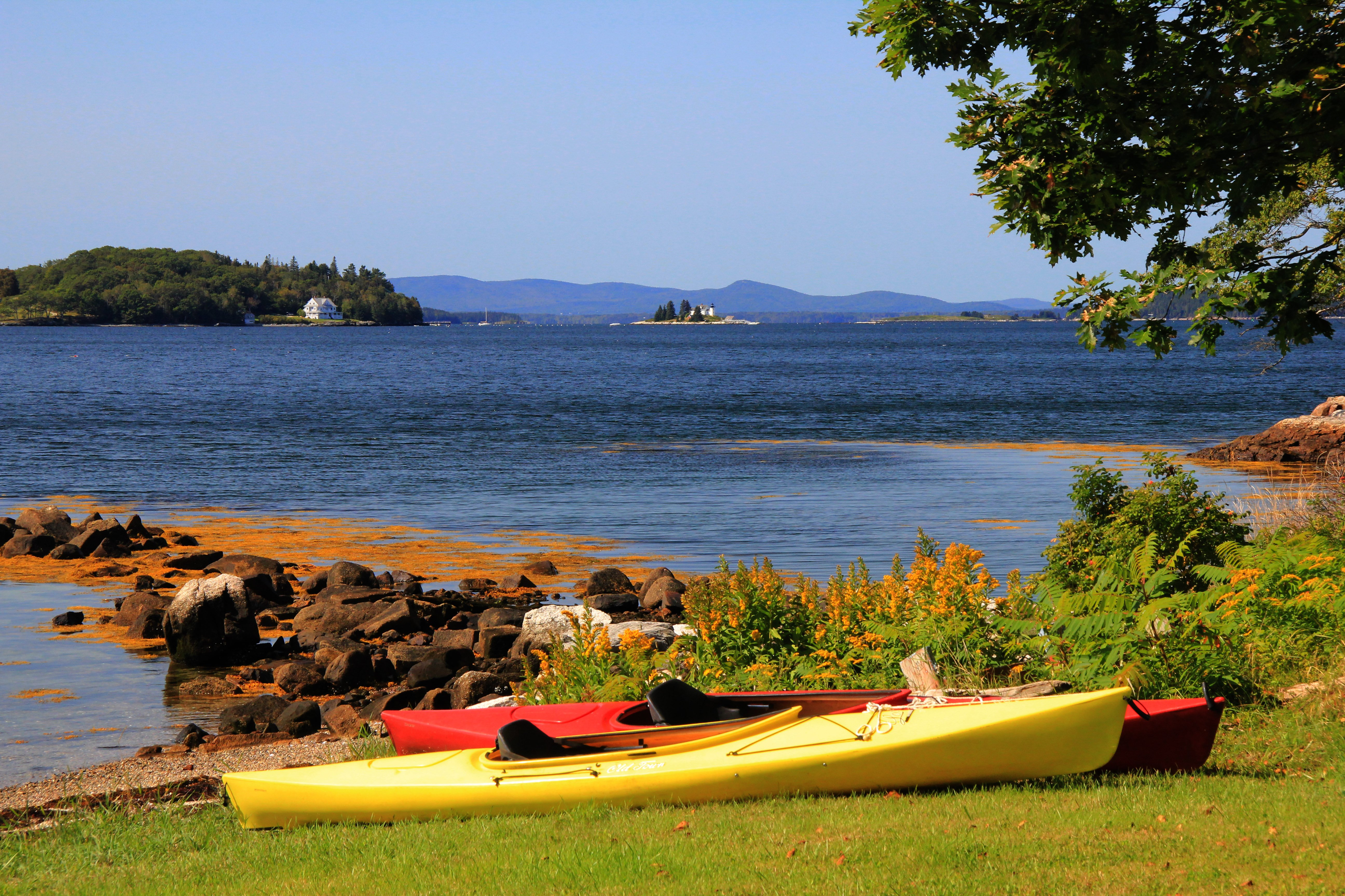 You can bring your own kayak or rent one locally and have it delivered right to our shorefront. This is Herricks Landing which is on our 60 acre property on the shore of East Penobscot Bay.