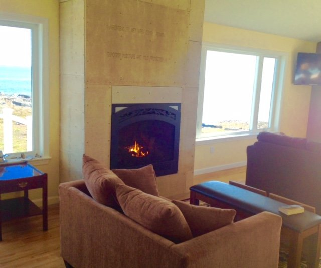 Fireplace with be completed with stone façade and ready for our first guests in the spring.