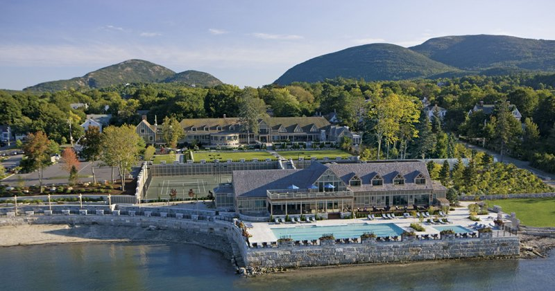 Aerial view of a beautiful resort in Acadia, Maine.