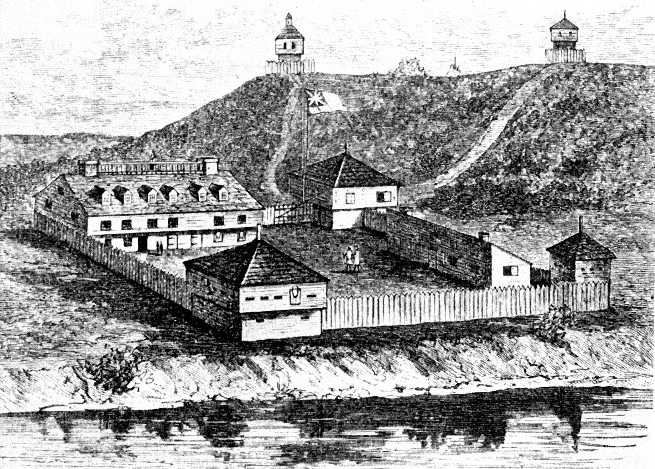 Drawing of historic Fort Halifax