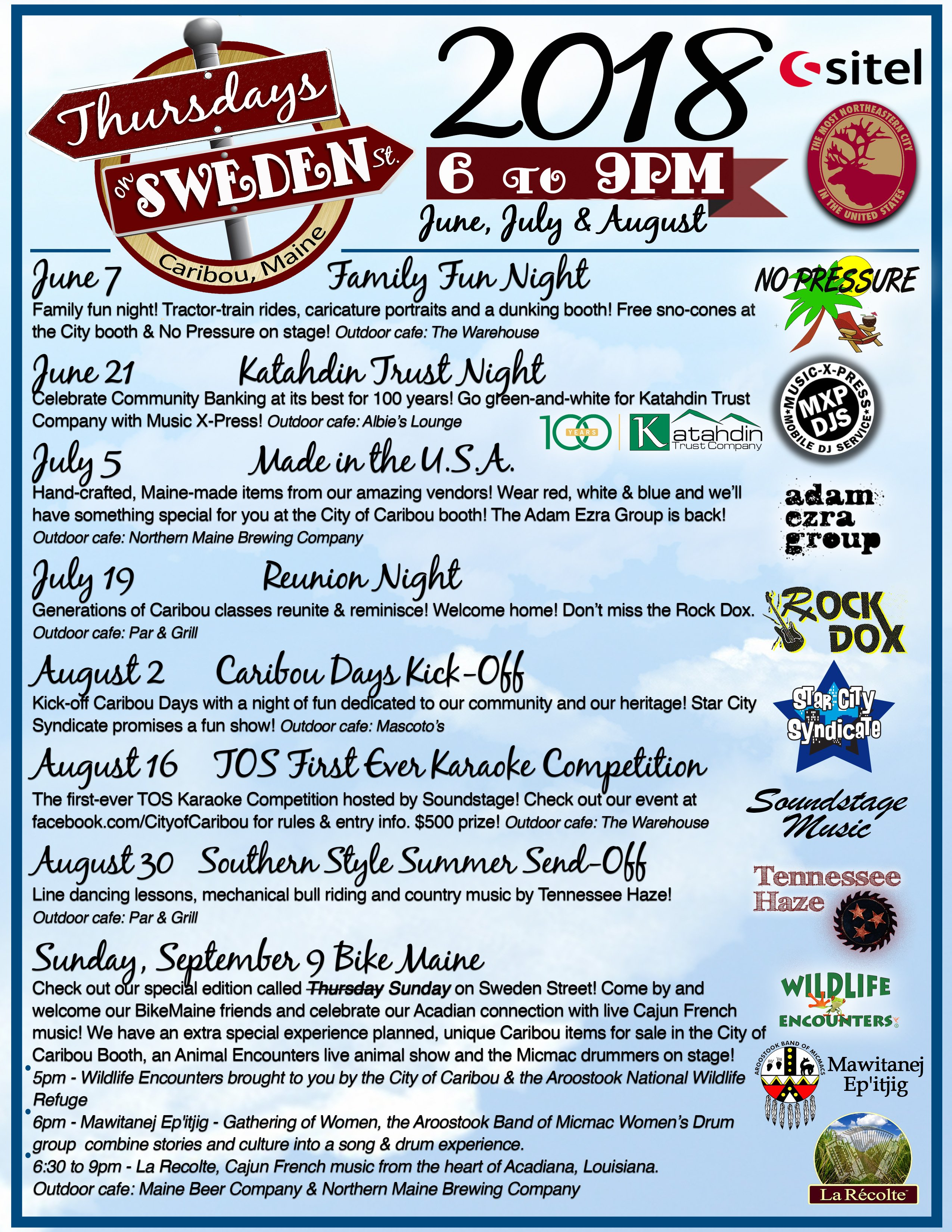 Join us for our popular summer festival - Thursdays on Sweden Street! On June 7, help us kick off the series with Family Fun Night - Tractor-Train Rides, Dunking Booth, Sno-Cones and more!