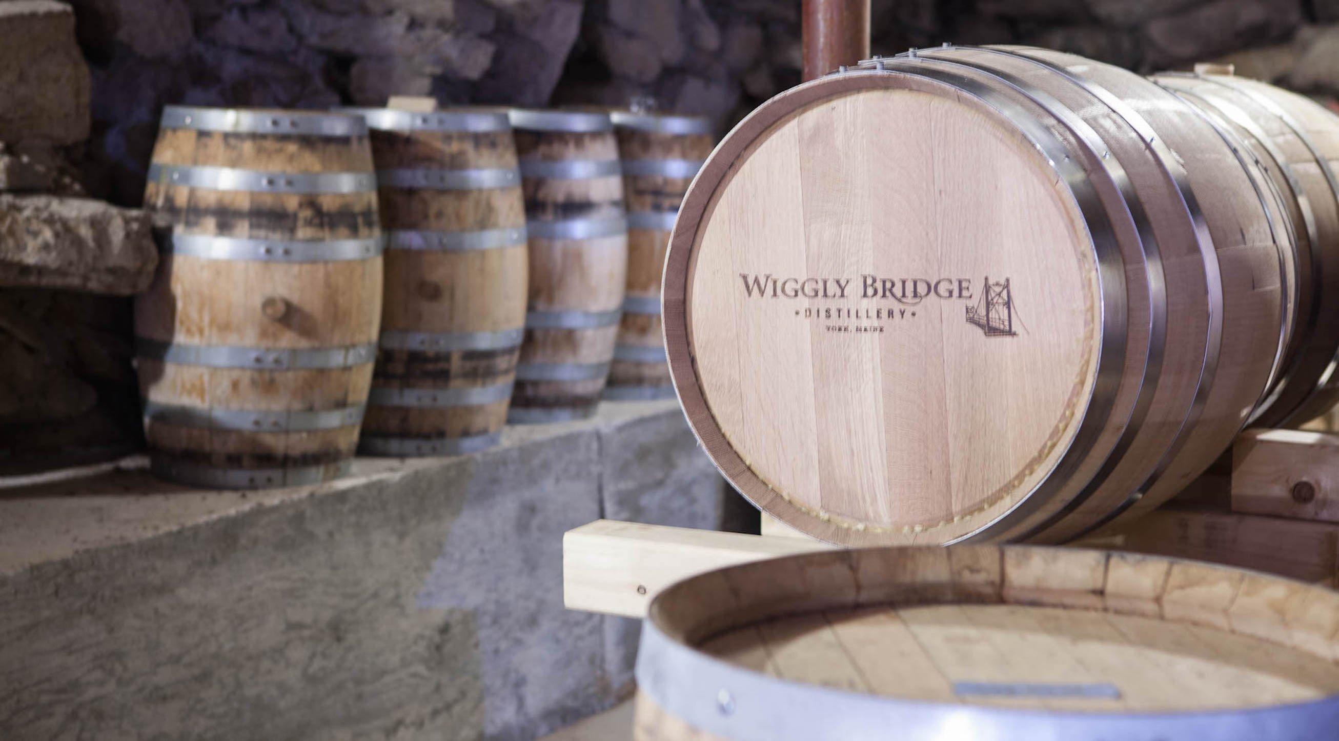 Barrels aging handcrafted spirits