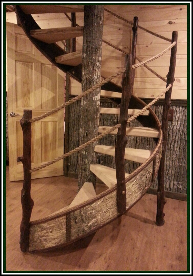 Hand made spiral staircase in The Grand Oak