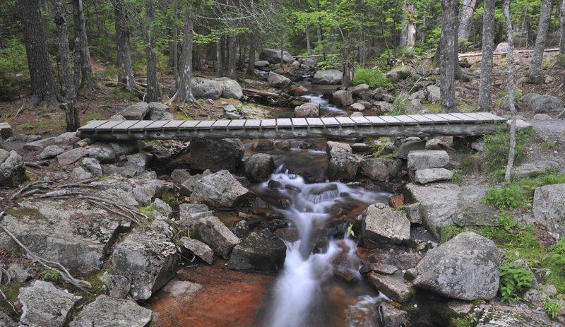 Bridge crossing a rocky stream in Acadia National Park.