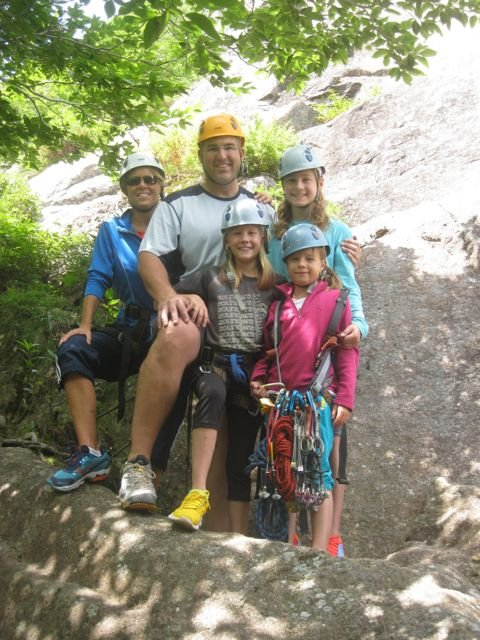 Rock climbing is the perfect family activity. Climbing in Acadia National Park with Acadia Mountain Guides Climbing School