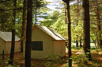 Sunny cabin tents at Kennebec River Campground, Northern Outdoors Adventure Resort