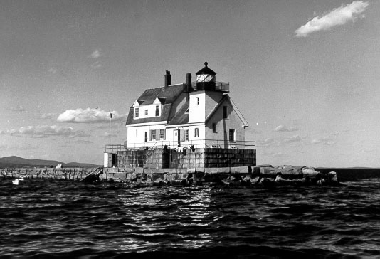 Historic Coast Guard photo of Rockland Breakwater Lighthouse.