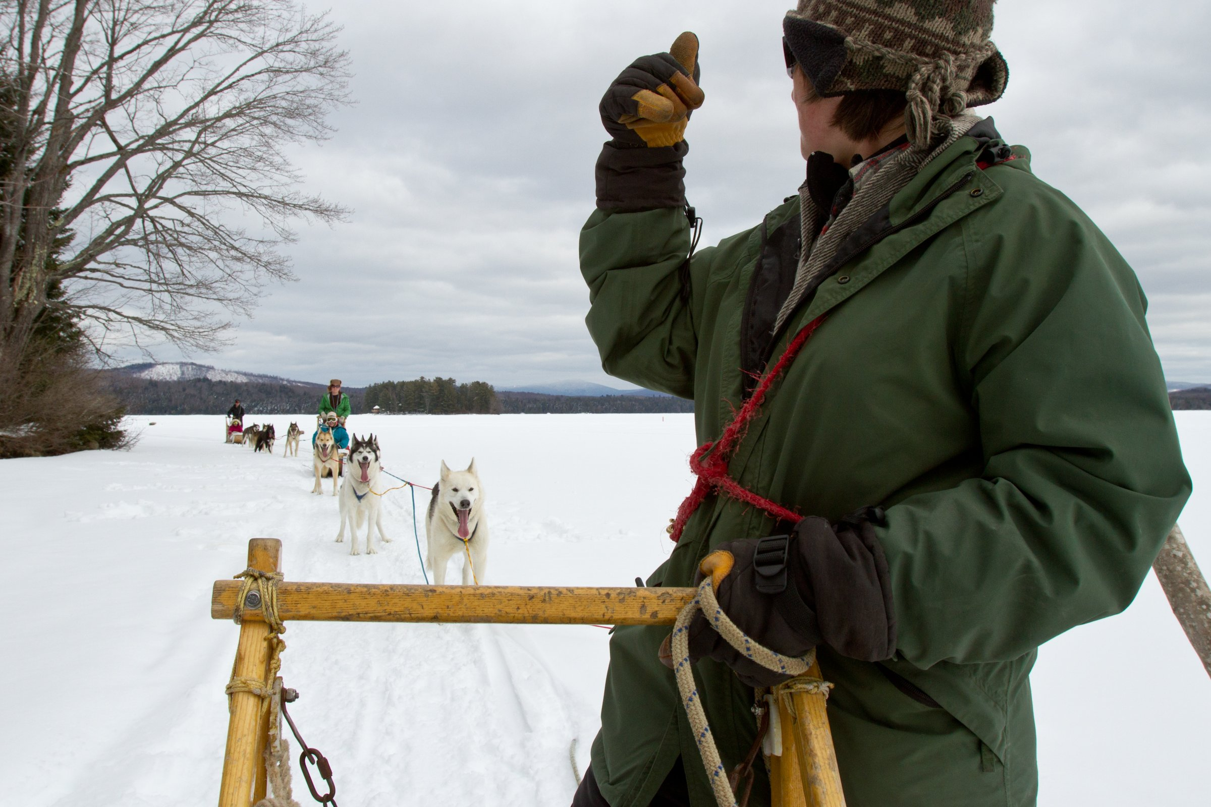 "Polly giving the ""thumbs up"" on Umbagog Lake"