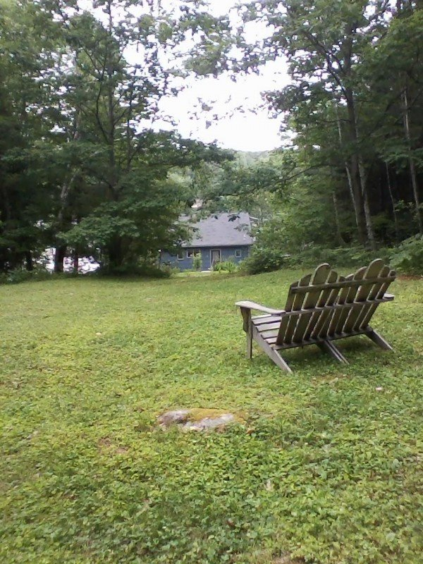 Bench overlooking cottage and pond