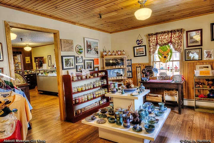 Abbott Museum Gift Shop with Made in Maine Products and Authors