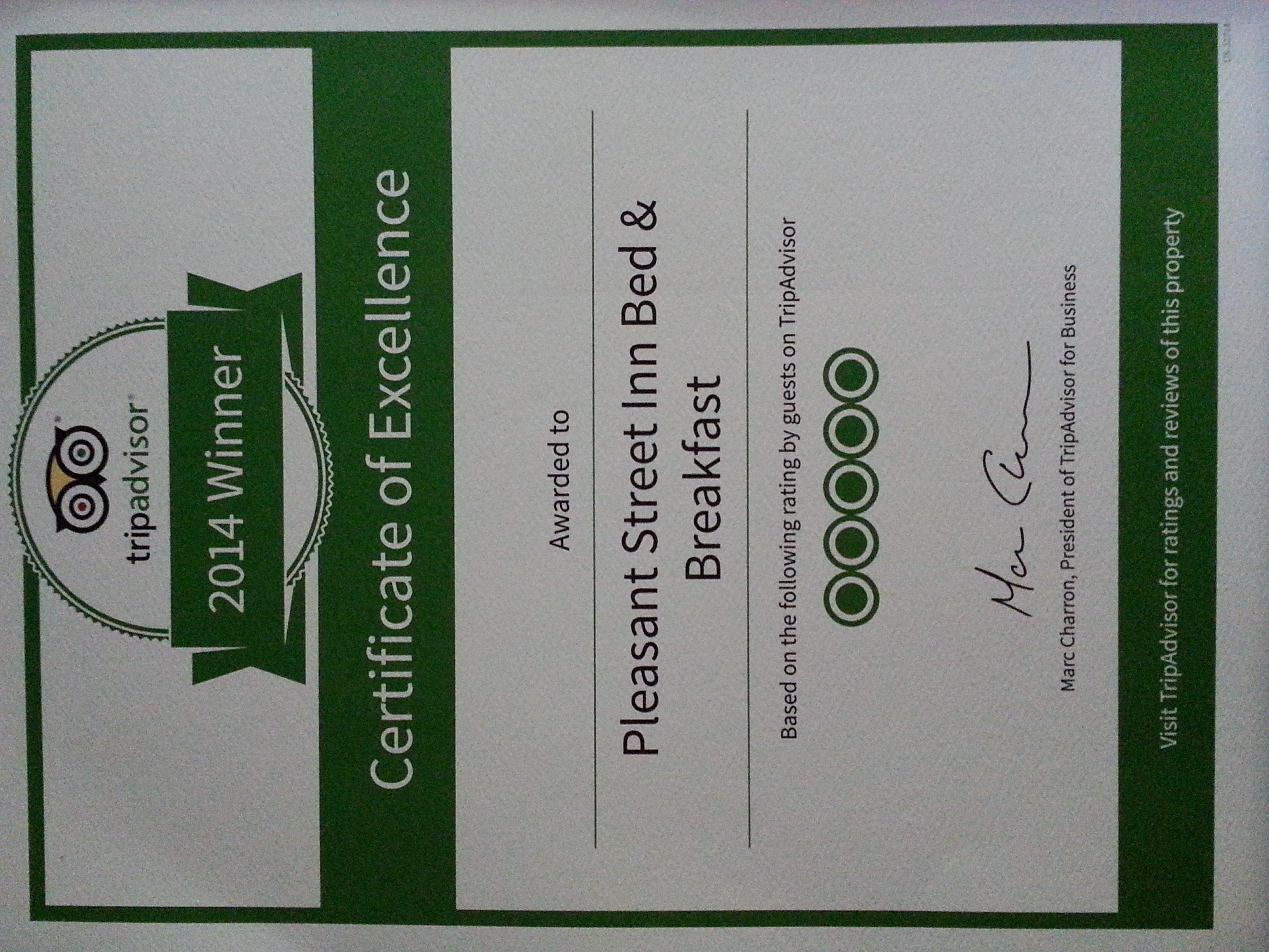 2014 TripAdvisor Certificate of Excellence