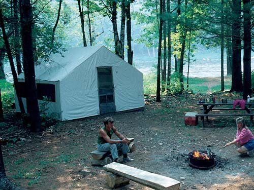 Enjoy comfortable 2 and 4 person cabin tents at Kennebec River Campground