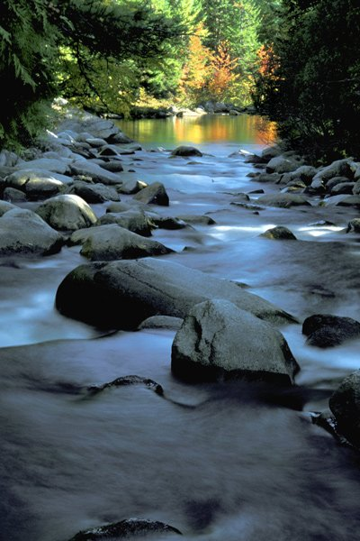 A scenic shot of a stream at Baxter State Park.