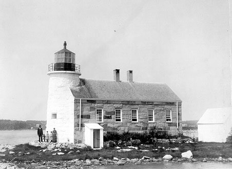 1850 photo of the Prospect Harbor Point Light. The lighthouse has changed considerably since this photo was taken.