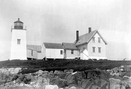 Historic photo of Nash Island Light Station. The square tower is all that remains.