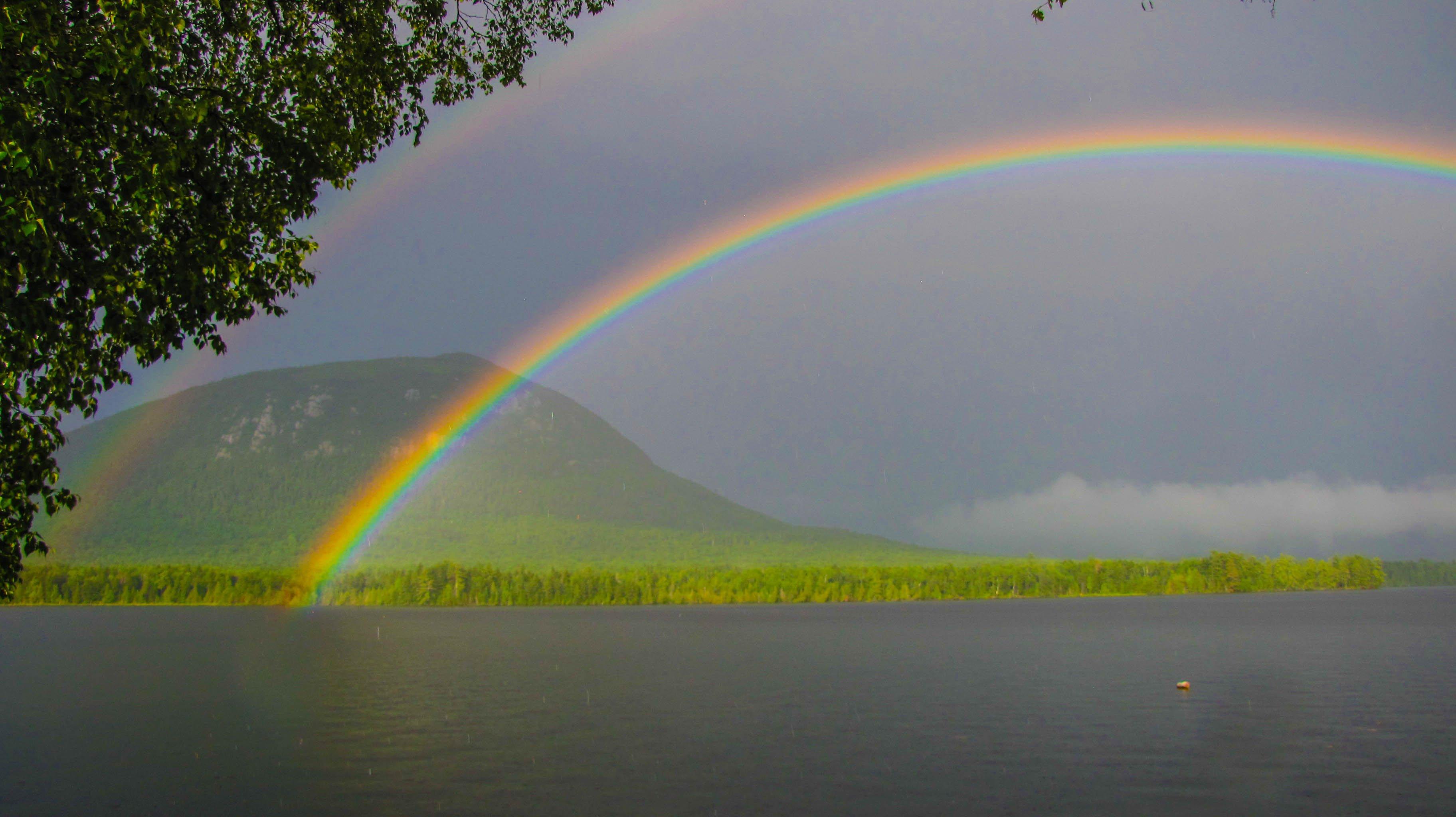 Double Rainbow over Kokadjoweemgwasebemsis (Little Spencer Mountain)