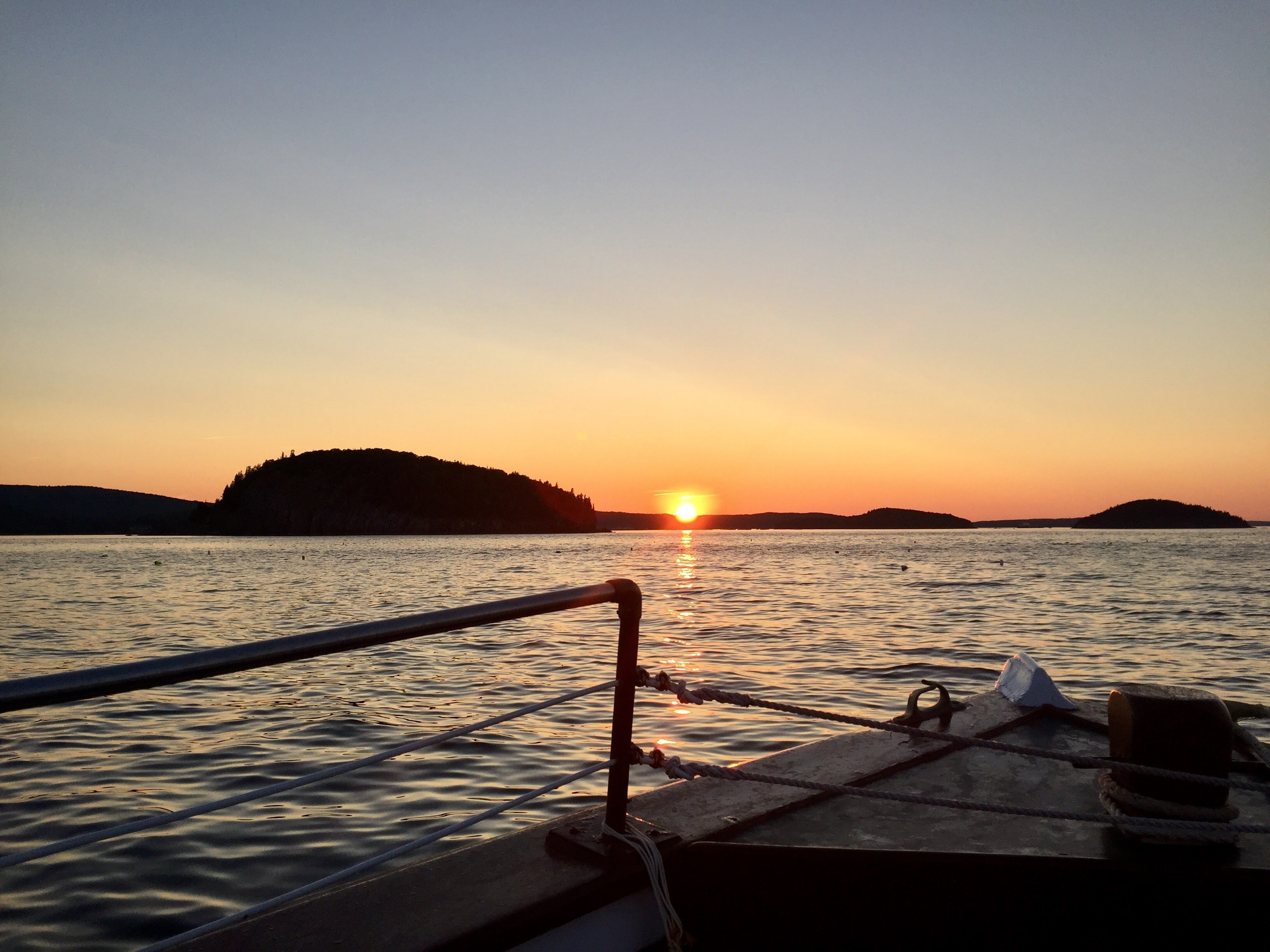 Sunset on the Bar Harbor Ferry to Schoodc/Winter harbor