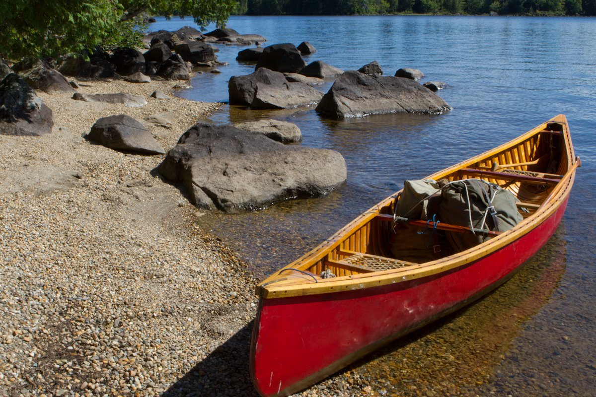 One of our beautifully handcrafted wood canvas canoes.