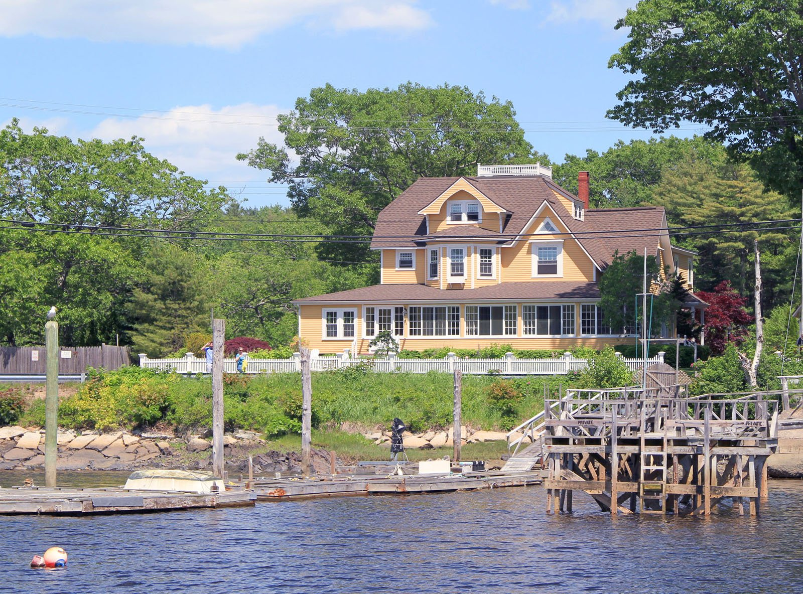 On the Kennebunk River and Cabot Cove in Backyard. Open Year Round. Water on 3 sides. See much more at www.luxurykennebunkporthouserental.com