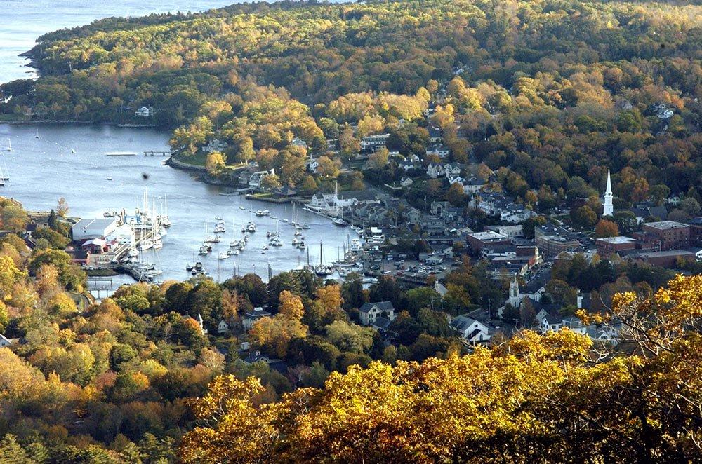 View of the Camden Harbor from Mt. Battie