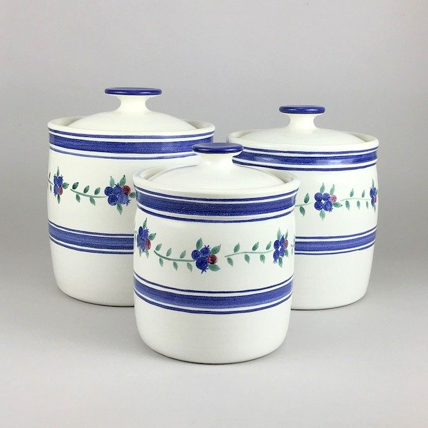 Three piece canister set in our blueberry pattern. See more on our website www.columbiafallspottery.com