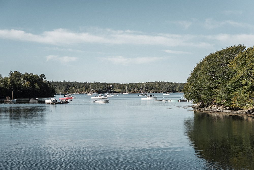 View of the boats on North Haven Island of the Maine Island Trail