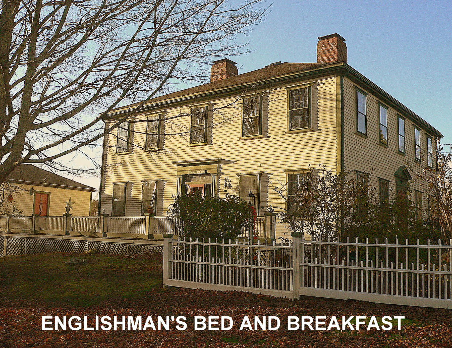 The Englishman's Bed and Breakfast, Cherryfield Carriage house visible on left