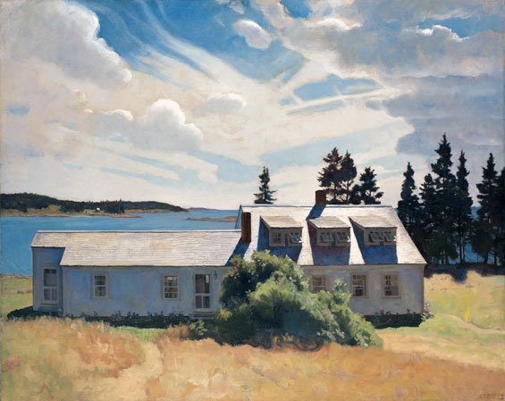 """N.C. Wyeth, Bright and Fair - Eight Bells, 1936, oil on canvas, museum purchase, 1989, Yvonne Jacquette, Rockport Harbor, Maine, 2001, Oil on canvas, 70"""" x 59 1/2"""" , Museum purchase"""