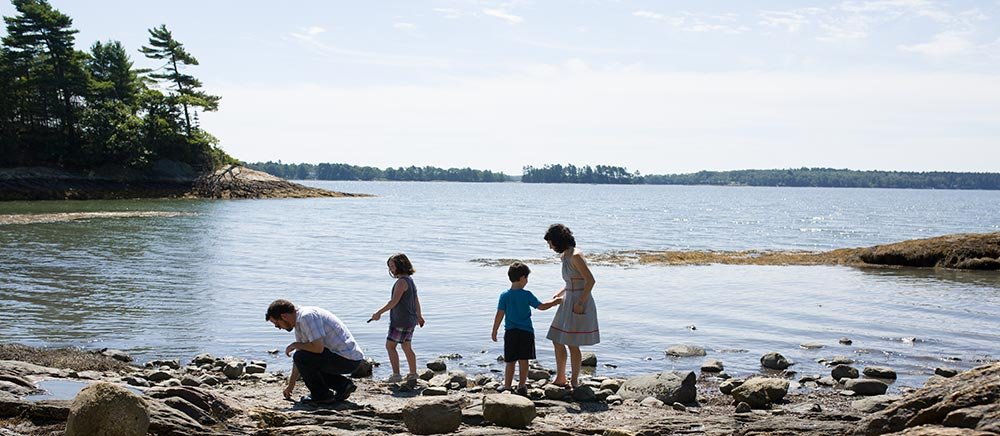 The shore at Wolfe Neck State Park