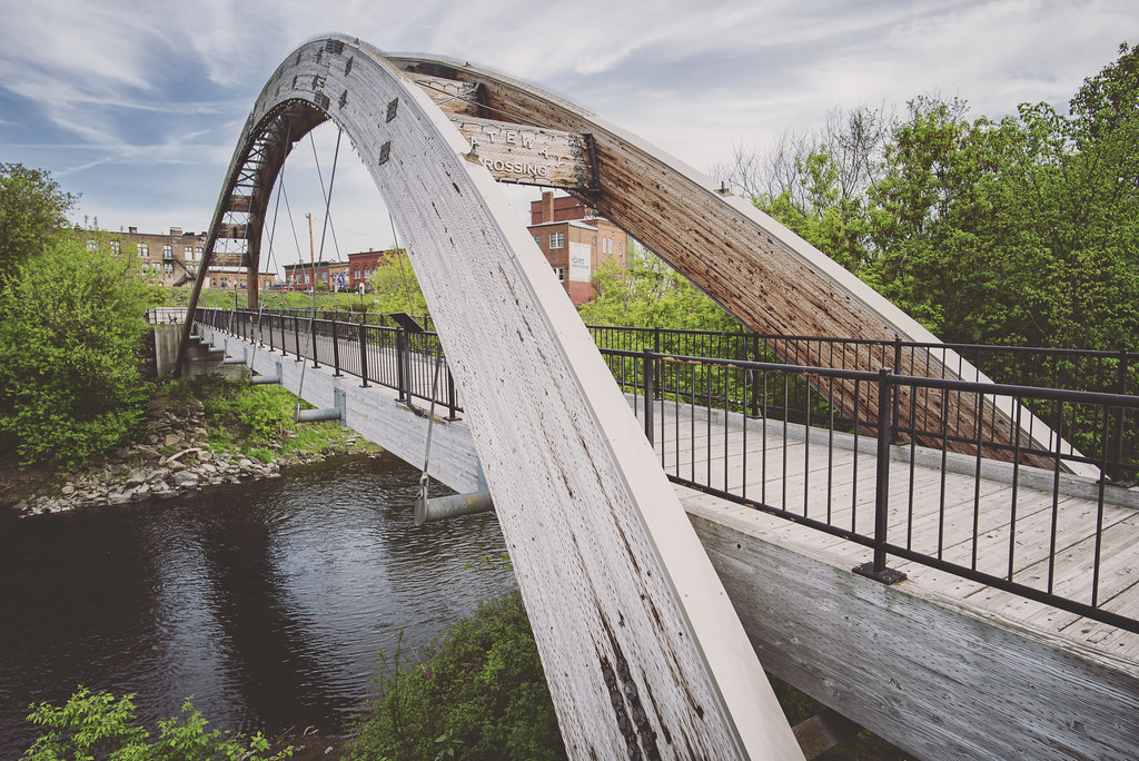 Houlton's Gateway Bridge connects downtown to the beautiful wooded nature trails along the Meduxnekead River.