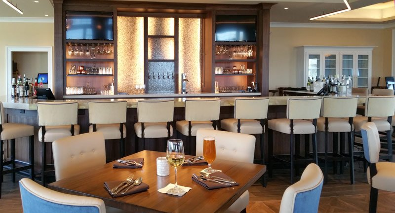 Come see our 16-seat bar. The counter top quartz is very unique and the vibe here is welcoming!