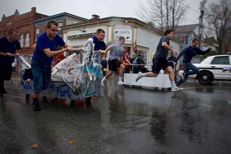the final heat of the 2016 coffin race on Main street in Bucksport at Ghostport