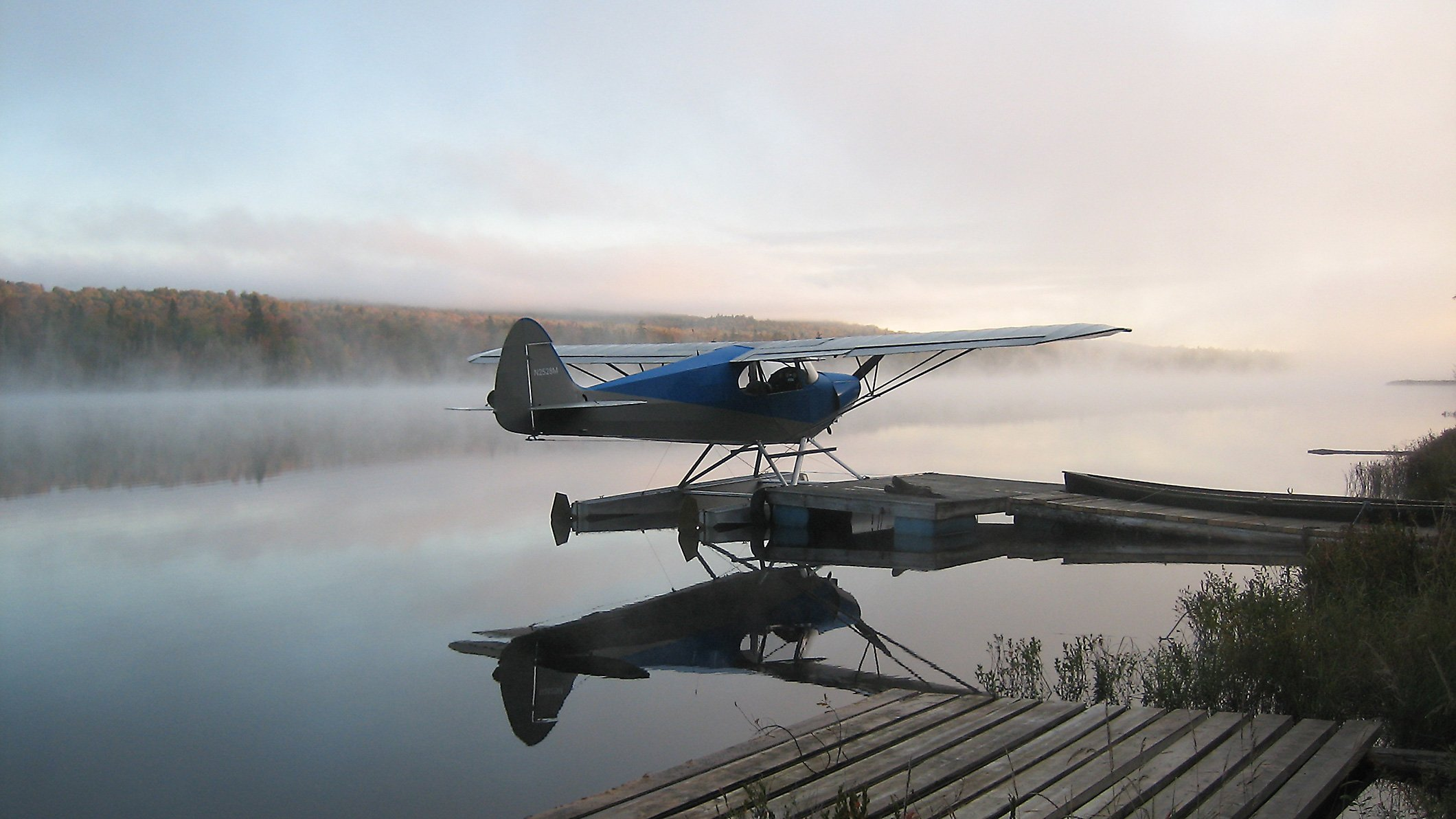 Our seaplane in front of Johnson's Allagash Lodge on Narrow Pond.