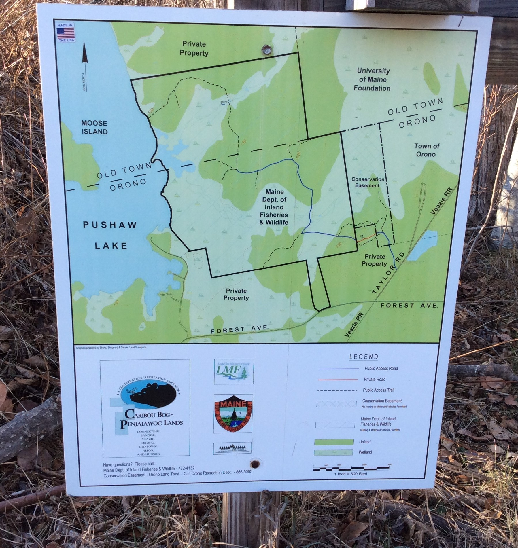 Orono Land Trust properties have kiosks and mapped trails like this one at Caribou Bog Conservation Area off Taylor Road in Orono.