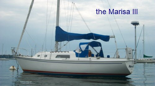 The Marisa III is a 30' Pearson sloop large enough to sleep 5 with all of the amenities for coastal cruising.