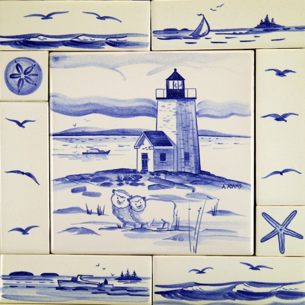 "12"" x 12"" tile composition, hand painted in the classic blue delft style by April Adams. Nash Island Lighthouse. One of many lighthouse topics available by custom order."