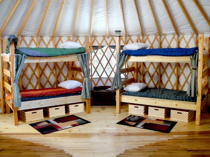 Bunk beds at Fisher Ridge Yurt