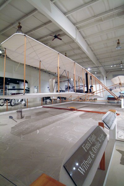 The Wright Brothers first flight plane.