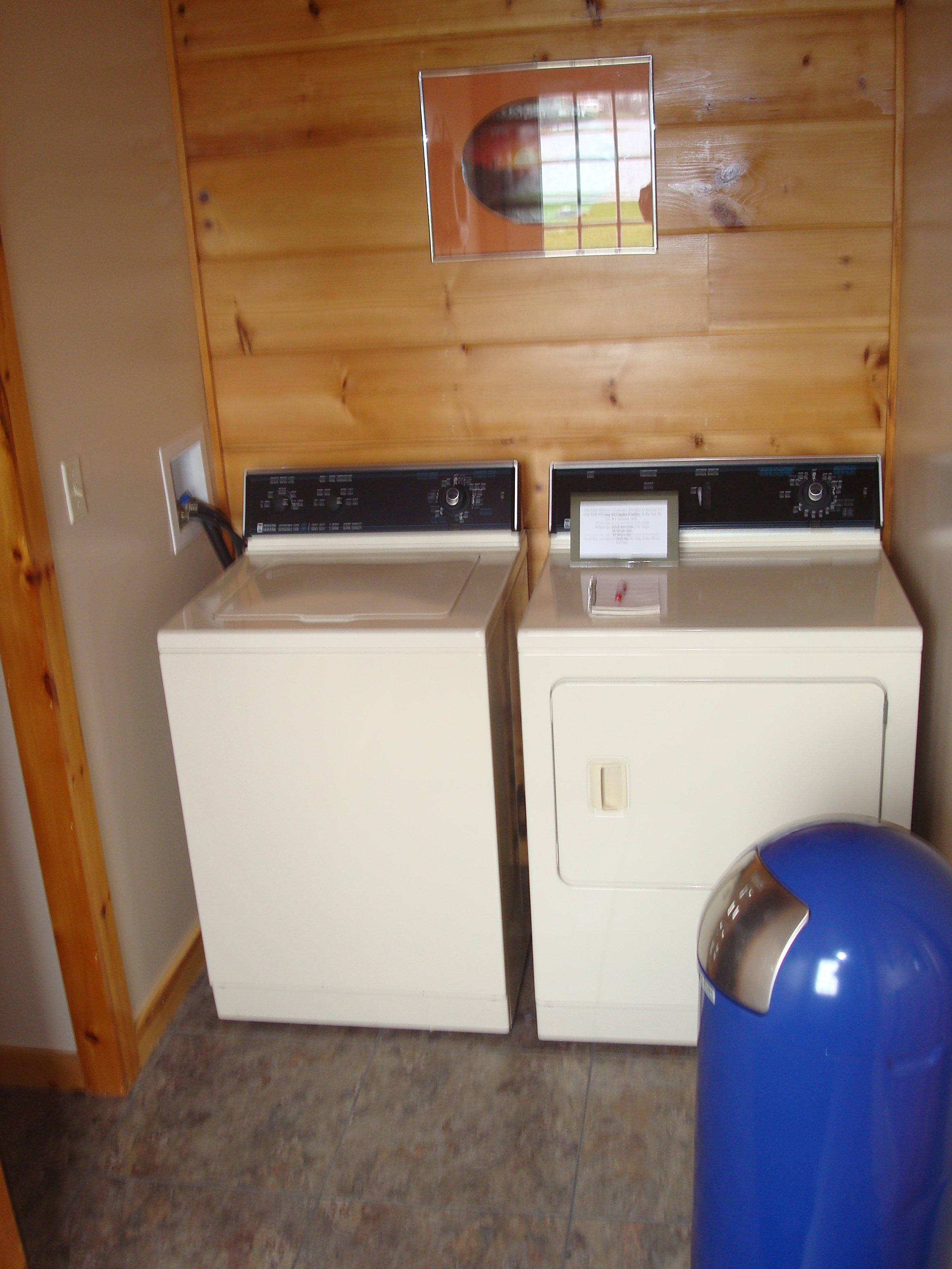 Service building with bathroom, showers, and washer and dryer.