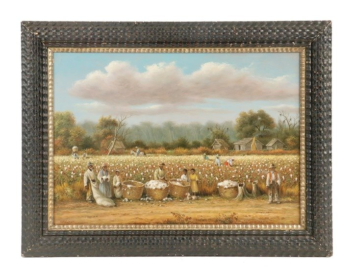 Oil on canvas work by William Aiken Walker (SC/MD, 1838-1921) depicting cotton harvesting to be offered at Thomaston Place Auction Galleries on February 16, 17 & 18
