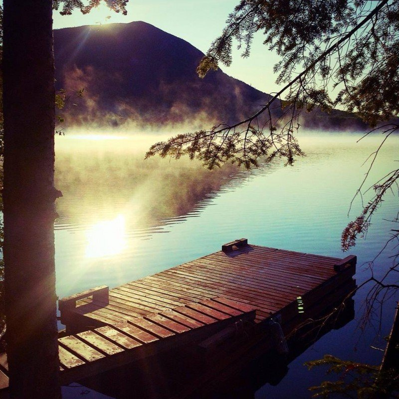 View of the mountain from a dock