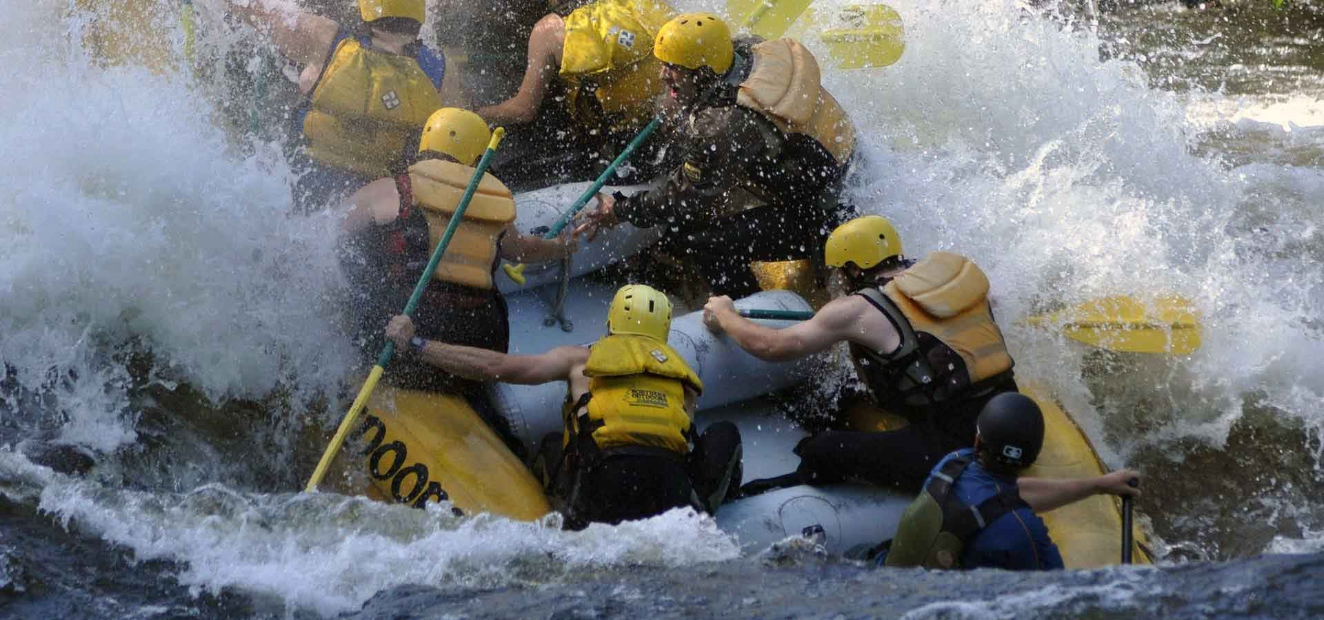 Huge whitewater action on the Kennebec River