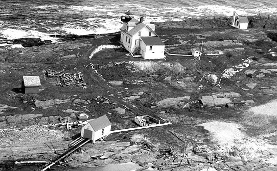1980 aerial photograph of Pond Island Light Station. Today, only the light tower remains.