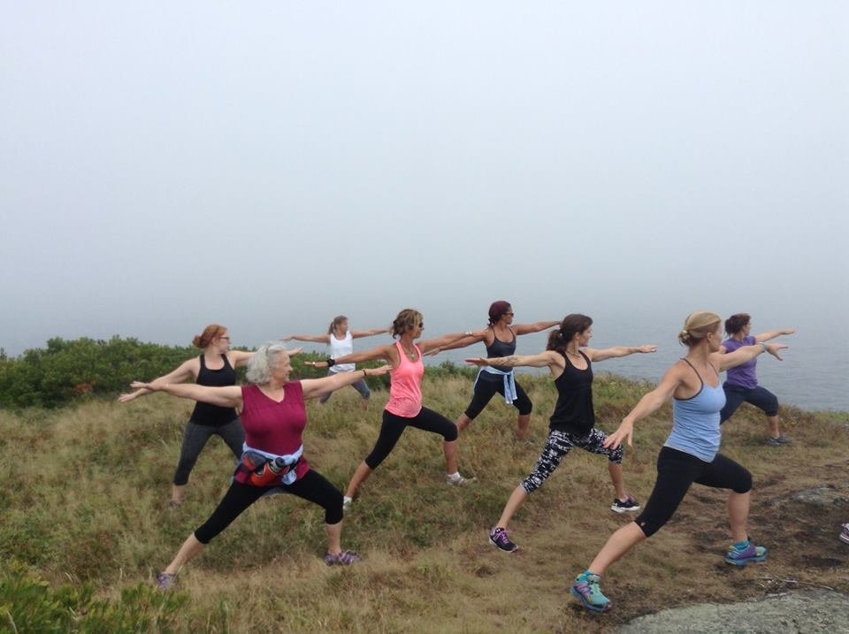 Yoga on Monhegan's backside. This day fog rolled in, enhancing the participant's ability to bring awareness inward.