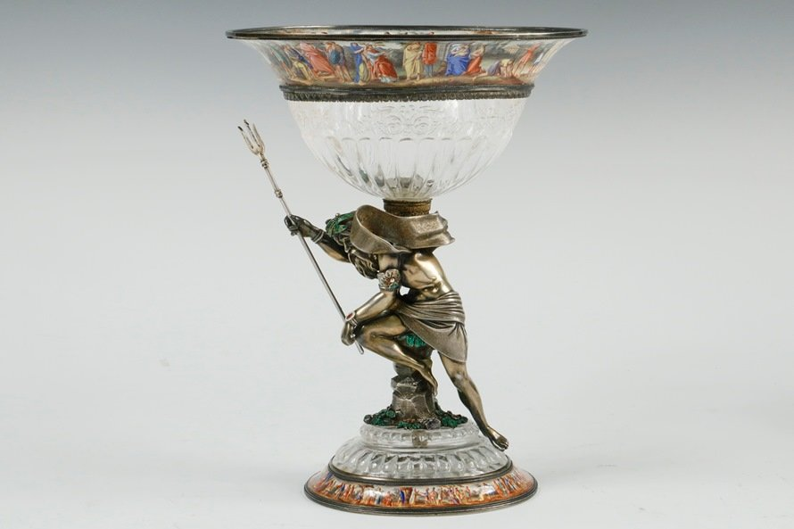 19th c. Viennese gilt 900-silver and rock crystal compote, one of many fine decorative objects on offer at Thomaston Place Auction Galleries' Winter 2018 auction.