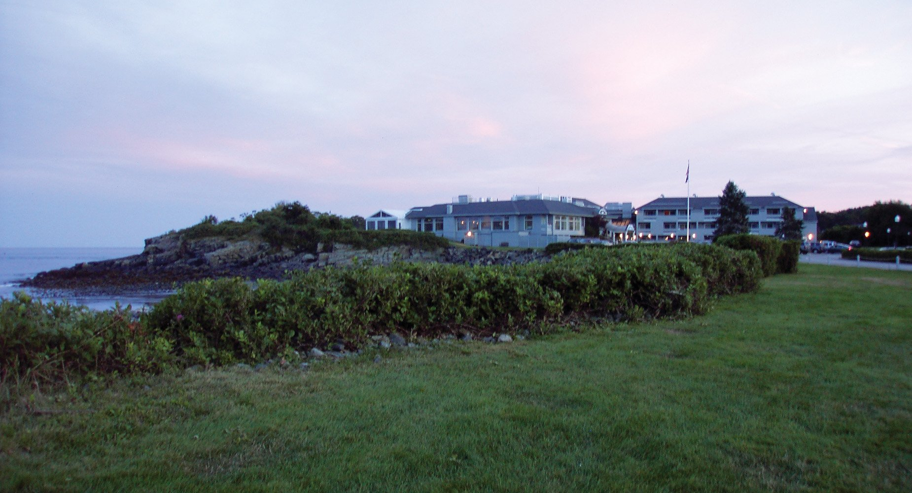 The Inn viewed across the lawn and beach.